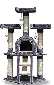 Albero per Gatto con Graffiatoio Cuccia Giocattolo Gatti Parco Giochi Tiragraffi in Sisal Naturale 116 cm (Silvestro 30065)