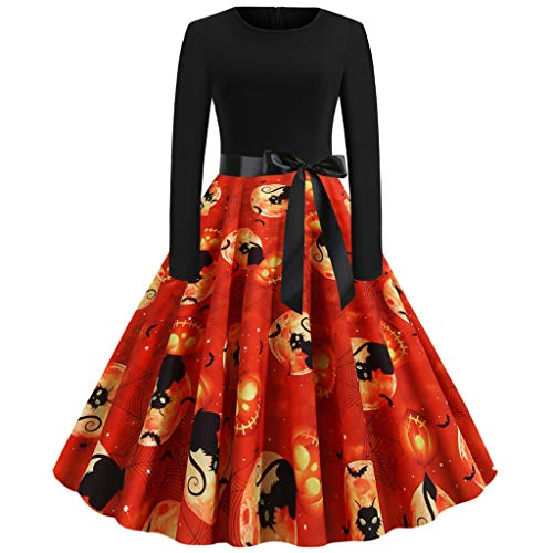 Kostüm Shirt Orange Uhrwerk - Calvinbi Damen Kleider Schwarz Rot Vintage Elegante Kleid mit Schleifen Rosen und Skelett Knielang Langarm 3/4 Arm Abend Swing Kleid Soft und Stretch fur Halloween Party Ball Karneval Kostüme