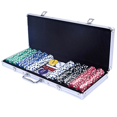 COSTWAY Pokerkoffer Poker Set 500 Laser...