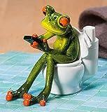 Süßer Frosch auf Toilette Deko Figur Dekofigur Dekoration Zierfigur WC Bad - 2