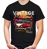 Vintage Bus Männer und Herren T-Shirt | Brisa Retro Flower Power (L, Schwarz)