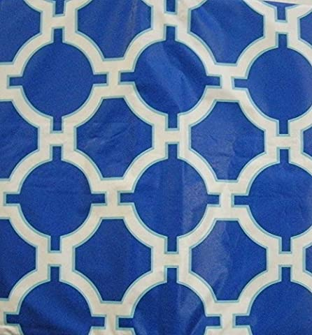 Vibrant Blue and White Lattice Vinyl Tablecloth (52 Inch Square) by Elrene