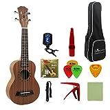 FLEOR 21 \'\' Ukulele soprano à Sapele Hawaï Uke guitare avec clip-on Tuner Gig Sac Picks Polissage Tissu Nylon String Pikcs Capo sangle pour débutant