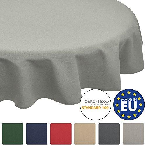 Beautissu Loftflair Tischdecke rund Ø 160 cm Grau Tischtuch aus Baumwolle Stoff - Waschbar & Pflegeleicht