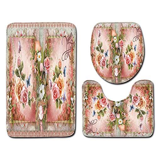 Wicemoon Badematten Set 3 teilig Vintage Rose Blume Print Badezimmer Vorleger Rutschfester Teppich...