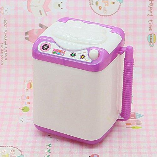 FEIDAjdzf Lernspielzeug für Jungen und Mädchen, süße Silikonpuppe, Waschmaschine, Mini-Waschmaschine, Puppenhaus, Möbelzubehör – zufällige Farbe