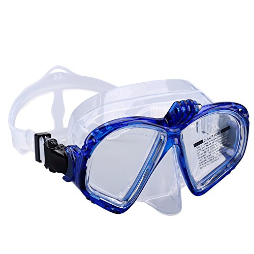 Supertrip Premium Schnorchelset erwachsene Taucherbrille mit Schnorchel mit 2 Mundstück Tauchset Tauchmaske gopro mit kamera halterung Tauchen dry Schnorcheln Set (Blau(nur Taucherbrille))