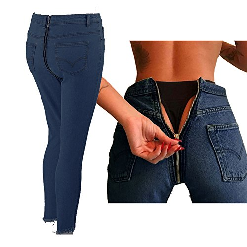 Jeans Damen Straight Jeanshose High Waist Stretch Denim Hosen Mit Hinterem Reißverschluss Sexy Bleistift Hose Casual Jeanshosen Hibote (Graue Flanell-hose)