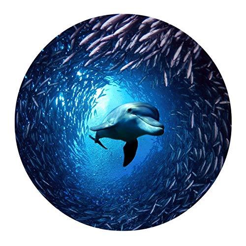SHFives 60 * 60 cm Runder Teppich 3D Cool Animal Dolphin Prints Home Boden Teppich Kinder Spielmatten Bad rutschfeste Teppiche Tapis, C0305BB, 600x600mm (Kinder Animal-print Teppiche)