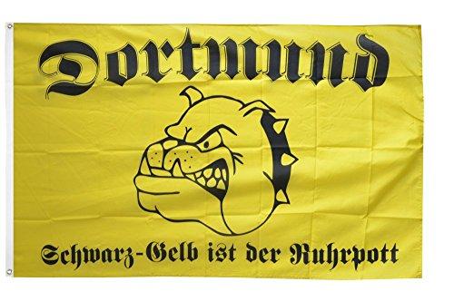 Flaggenfritze® Fanflagge Dortmund Bulldogge schwarz-gelber Ruhrpott - 90 x 150 cm