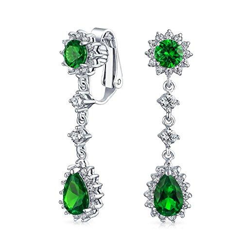 Grüne Träne Zirkonia CZ Halo Krone Baumeln Erklärung Ohrclips Ohrringe Simulierten Emerald Versilbertes Messing
