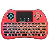 QPAU [Layout Italiano Mini Tastiera Retroilluminata, 2.4Ghz Mini Tastiera Senza Fili Wireless con Touchpad per PC, Pad, Android TV Box, PS3, Xbox 360, HTPC, IPTV, Rosso