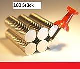100 Stück flache 10 x1 mm Magnete (Neodym)