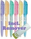 Pilot Frixion Light Pastell 6er-Set mit Frixion Remover weiß (6er Set | mit Radierer, soft Pastell | sortiert)