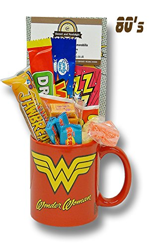 Wonder Woman POW Mug with a lush selection of 80's retro sweets 630gms