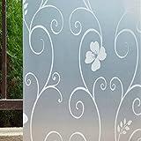Bluelans® Statische Fensterfolie blickdicht Glasdekorfolie Sichtschutzfolie statisch haftend selbsthaftend Anti-UV 45cm*100cm Milchglasfolie (Weiß)