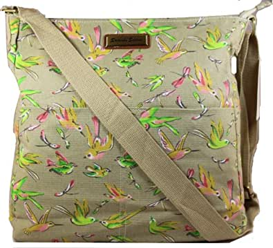Leila Bird Print Crossbody Bag in K825BEIGE