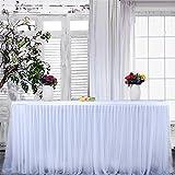 Tutu Table Jupe Blanc 9ft Gaze Tulle Nappe avec Ruban Adhésif pour la Fête de Mariage Bébé Baignoire D'anniversaire Gâteau Table Fille Princesse Décoration