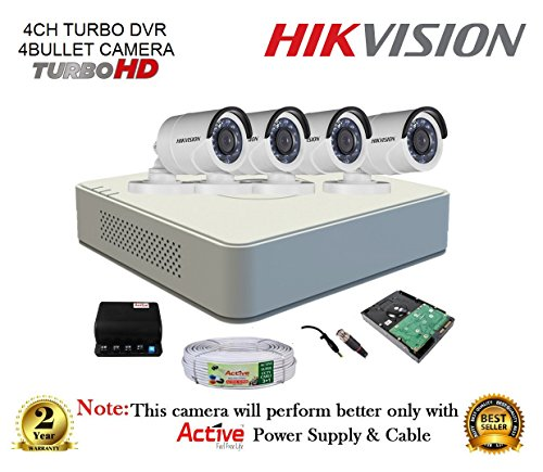 Active Feel Free Life CCTV Security System With Turbo Ds-7104Hghi-F1 Mini 4Ch DVR + Hikvision Ds-2Ce16Cot-Irp Bullet Camera 4Pcs + 1Tb HDd + Active Cable + Active Power Supply