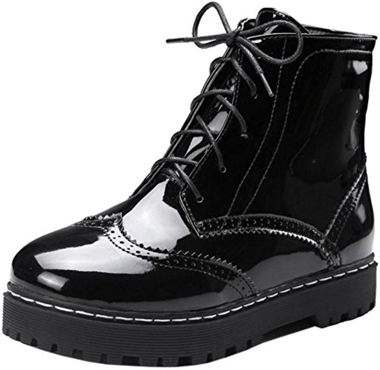 TAOFFEN Femmes Decontractee Plateforme Brogue Brogue Brogue Chaussures Martin Cheville BottesB075WY886KParent 1ce64d