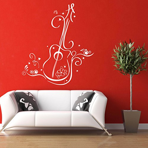 Decor Villa Super Guitar Wall Decal And Sticker White Color Extra Large Size- 58*66 Cm  available at amazon for Rs.509