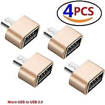 Lucklystar® Adaptador Conector Micro USB A USB 2.0 OTG, Convertidor Micro USB Macho a USB A Hembra OTG Enchufe Para Android Smartphone/Tablet Con Función OTG (Huawei Samsung Galaxy S7/S7E/S6E/s5/s4,Tab S/S2/Pro, LG G4/3/2/1/G Pro 1/2, Sony Xperia Z1/Z2/Z3/Z5, HTC One M8/M9, Google Nexus 5/6/7/9/10, Nota 5/Edge/4/3/2/Pro/10.1/8.0 Color Dorado 4PCS