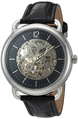 KENNETH COLE KC8017 GENTS BLACK LEATHER 43MM STAINLESS STEEL CASE QUARTZ WATCH