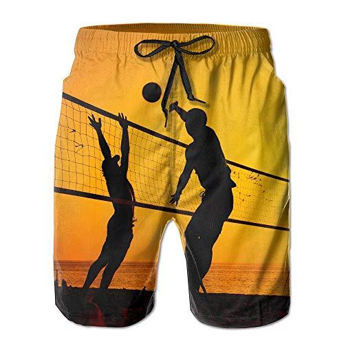 OPoplizg Men's Beach Volleyball Game Quick Dry Summer Beach Surfing Board Shorts Swim Trunks Cargo Shorts,XL