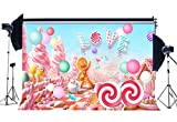 Sunny Star 7X5FT/210X150cm Vinyl Photography Backdrop Christmas Candy House Lollipops Ice Cream Gifts Lover Gingerbread Backdrops Seamless Kids Princess Birthday Background Photo Studio Props CA804
