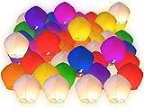 Lot de 50 Lanternes volantes multicolors colorées chinoise fête soirée...