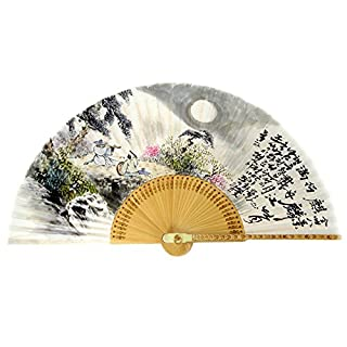 Hand Painted Folding Painting of Two Musicians in Mountain Korean Mulberry Rice White Paper Bamboo Art Handheld Decorative Fan