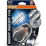 OSRAM 64210NR1-02B NIGHT RACER 110 H7 Halogen Motorrad-Scheinwerferlampe, Doppelblister (2 Stück mit Miniatur Motorradhelm)