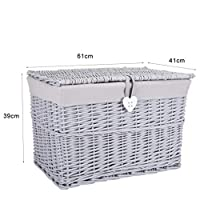 Grey Painted Wicker Trunk Storage Chest Hamper Basket Box Removable Lining (Large)