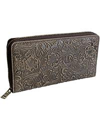 c29c22a26b6fe Exclusive Designer Damen Echt-Leder Geldbörse Geprägtes Leder Portemonnaie  Großes Portmonee Brieftasche Schwarz Braun Blau