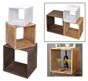 Lot de 3 cube lounge tag re de style campagnard bois for Table de chevet cube lumineux