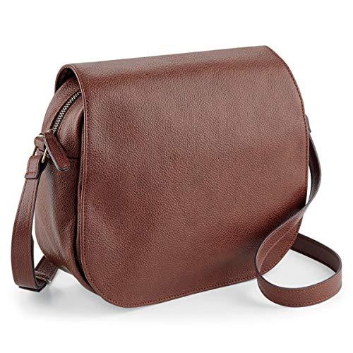 noTrash2003 Handtasche oder Umhängetasche Damentasche Satteltasche im Vintage Look Saddle Bag Retrolook Shoulder Bag Schwarz oder Braun 25 x 20 x 9 cm (Tan) - Tan Satteltasche