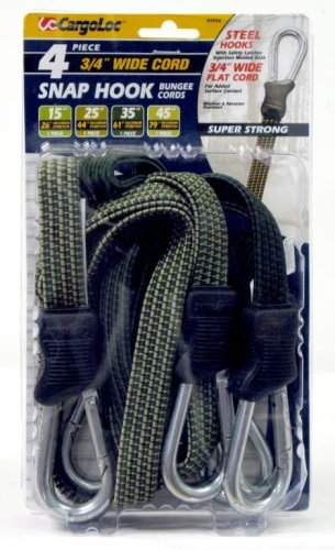 CargoLoc 89956 Snap-Hook Flat Bungee Cords Assortment, 4-Piece by CargoLoc -