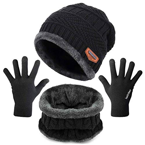 Sofenny Unisex Hat Scarf and Gloves Set Knitted Warm Skiing Beanie Hat Circle Scarf and Touchscreen Gloves for Winter Outdoor Sports (Black)