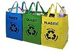 livivo® Set von 3Große Mehrfarbig schwere wiederverwendbar Recycle Beutel mit Griffen und sichere Aufsätze–Separate Ihr Haushalt Abfall und Recycling mit beschriftet und Farbe abgestimmtes Staubbeutel für Glas Papier und Kunststoff