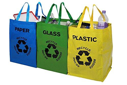 livivo® Set von 3Große Mehrfarbig schwere wiederverwendbar Recycle Beutel mit Griffen und Klettverschluss Aufsätze–Separate Ihr Haushalt Abfall und Recycling mit beschriftet und Farbe abgestimmtes Staubbeutel für Glas Papier und Kunststoff