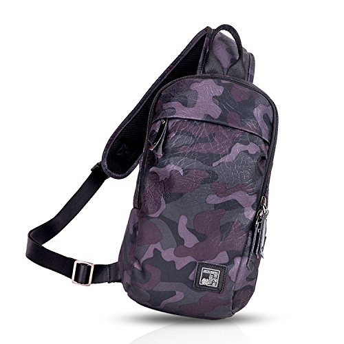 FANDARE Mode Sling Bag Rucksack Umhängetasche Brusttasche Messenger Bag Hiking Bag Daypack Crossbody Bag Schultertasche Sports Reisetasche Polyester Camo Camo