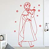 caowenhao 3D Princesse Autocollant Mural Vinyle Autocollant Étanche Mur Art Sticker Enfant Fille Chambre Décor À La Maison Décoration Murale De Papier Peint Rouge XL 58 cm X 92 cm