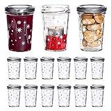 MamboCat 15tlg. Gläserset Sturzglas Gina mit Deckel TO66 Silber | 160 ml | Weihnachts-Gläschen | weiße Sterne und Eisblumen | Einmach-Glas klar