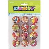 Unique Party - 45000 - Paquet de 12 Balles Rebondissantes Marbrées pour Pochettes - Cadeau