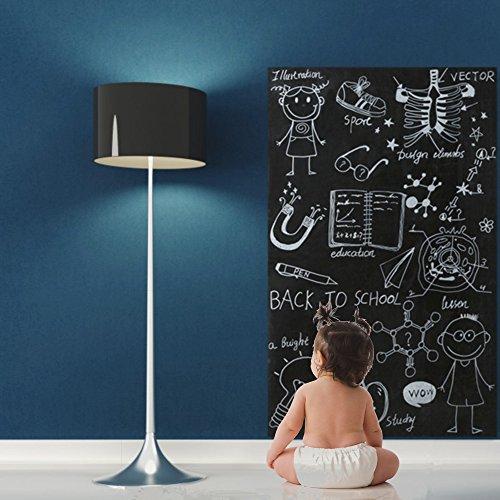 fancy-fix Schwarze Selbstklebend Tafelfolie mit Marker-Stift | Blackboard-Sticker | Vinylrolle in 3 Größen | Tafel-Aufkleber | Leicht abwischbar (43cm x 200cm)