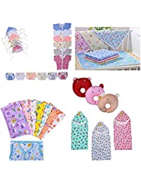 Fareto New Born Baby Combo Of Daily Needs Items In A Singe Packet/6 Front Open Shirt,6 Nappies,6 Caps/ 8 Baby Jhabla With 8 Nappies/ 4 Diaper Changing Sheets/3 U-Shape Pillows/ 3 Cotton Blanket (0-3 Months, Multicolors)