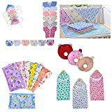 #9: Fareto New Born Baby Combo Of Daily Needs Items In A Singe Packet/6 Front Open Shirt,6 Nappies,6 Caps/ 8 Baby Jhabla With 8 Nappies/ 4 Diaper Changing Sheets/3 U-Shape Pillows/ 3 Cotton Blanket (0-3 Months, Multicolors)