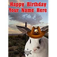Rabbit Dog j733 Cowboy Sheriff Fun Cute Happy Birthday A5 Personalised Greeting card POSTED BY US GIFTS FOR ALL 2016 FROM DERBYSHIRE UK