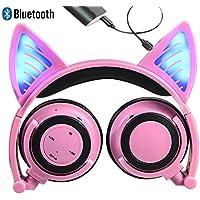 Bluetooth MIC auriculares inalámbricos recargables auriculares de gato plegable ajustable Flash auriculares de luz azul para iPhone 7 / 6S / iPad, teléfono móvil Android, Macbook(rosa)