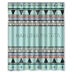 hakuna matata impermeable duschvorhang 150 x 180 cm k che haushalt. Black Bedroom Furniture Sets. Home Design Ideas